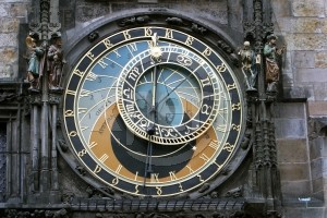 This is a large wall clock in Prague - an astronomical clock, in fact.